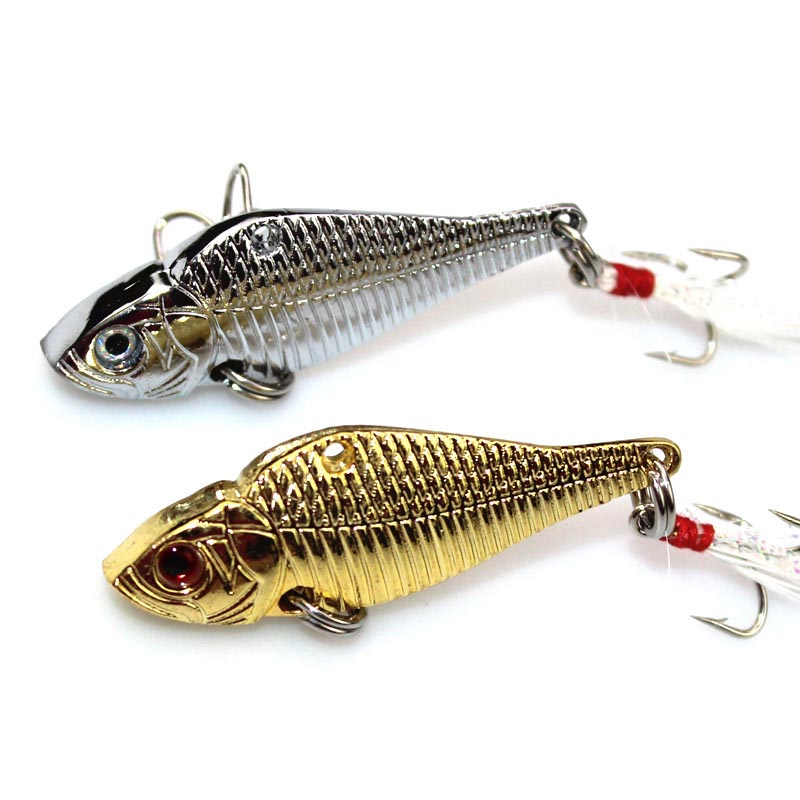 5cm 12.5g Metal Spinner Spoon Fishing Lures VIB Hard Jig Baits Crank Wobble Crankbait Fish Lure Feather Treble Hook Tackle wldslure 1pc 54g minnow sea fishing crankbait bass hard bait tuna lures wobbler trolling lure treble hook