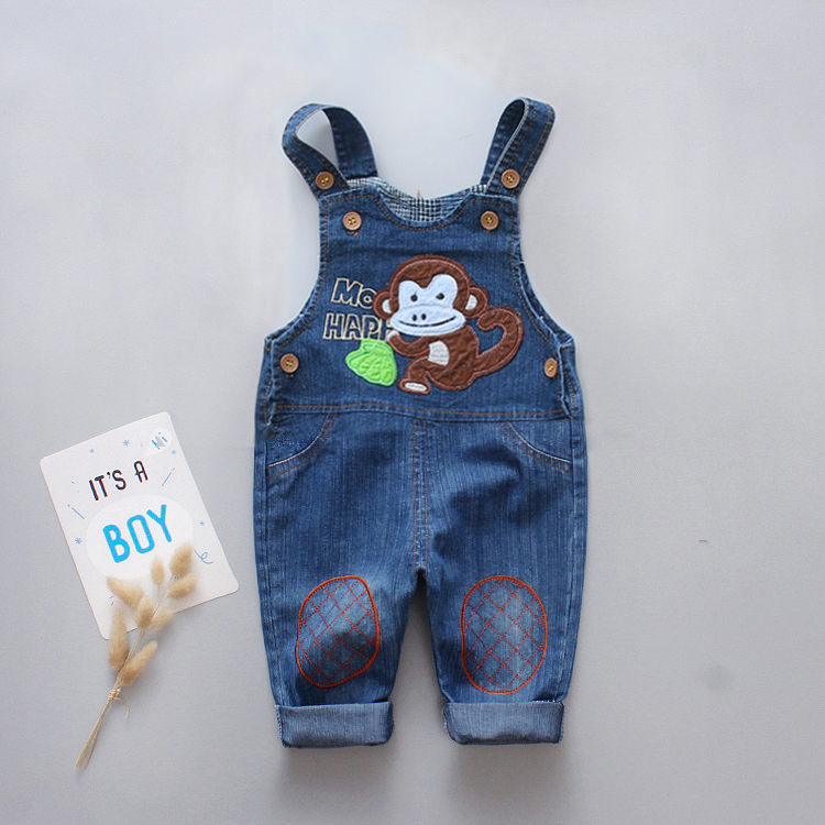 DIIMUU Infant Clothing Boys Girls Denim Overalls Cartoons Pathckwork Monkey Cute Casual Jumpsuits Rompers Toddler Jeanpants