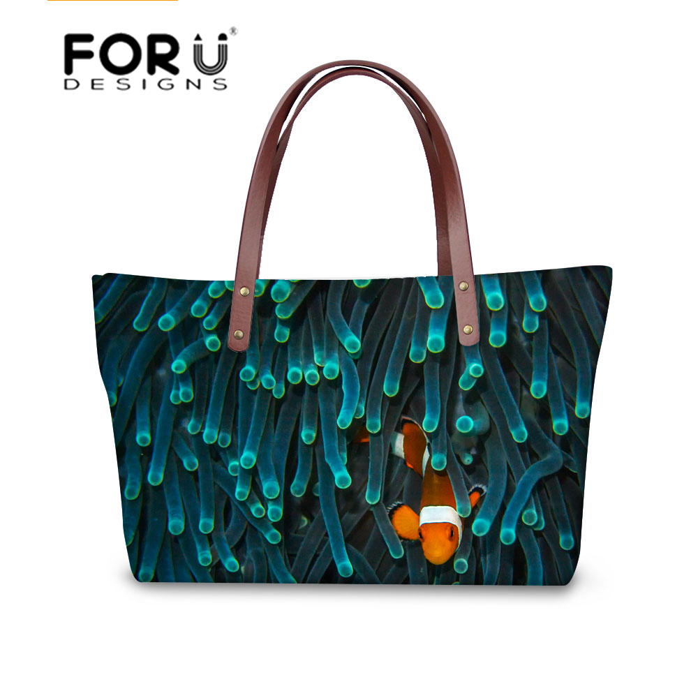 62f605725 Peces tropicales impresión moda mujer mano Bolsas hombro femenino Mensajero  de la vendimia bolso de las señoras ocasional Bolsas bolsa feminina