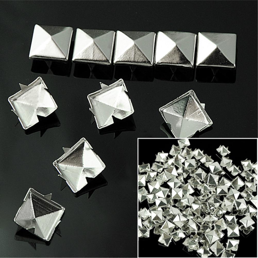 WITUSE Cheap! 100PCS DIY 10mm Silver Pyramid Studs Nailheads Rivet Spike For Punk Bag Leather Craft Bracelets Clothes Belt rivet