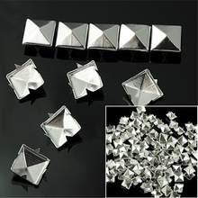 WITUSE Barato! 100 pçs diy 10mm prata pirâmide studs nailheads rebite pico para punk saco de couro artesanato pulseiras roupas cinto rebite