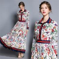 FANIECES 2018 Sexy Sleeve Autumn Women Dress Turn down Collar Vintage Print Long Sundress Boho A Line Maxi Dresses streetwear