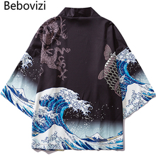 Bebovizi Japanese Wave Koi Print Kimono Cardigan Jackets Mens Fashion Outwear Japan Style Casual Streetwear Thin Coats 2019