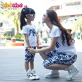 2016 Matching Mother Daughter Father Son Clothing Set Family Clothing T-Shirt And Shorts Set Plus Size XXXL T-shirt And Shorts