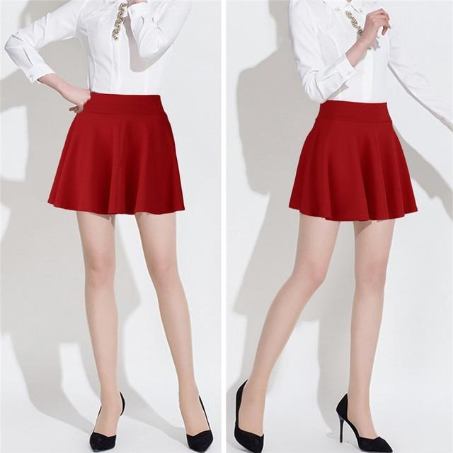 326c08f7cb4500 € 5.28 |Mode Unique Coton Mélange de Femmes Stretch Taille Ordinaire  Patineuse Évasée Plissée Mini Jupe courte Femmes Taille Haute Causalité ...