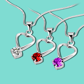 c418018d406f Nueva joyería de plata de las señoras Collar de plata de ley 925 zirconia  corazón colgante