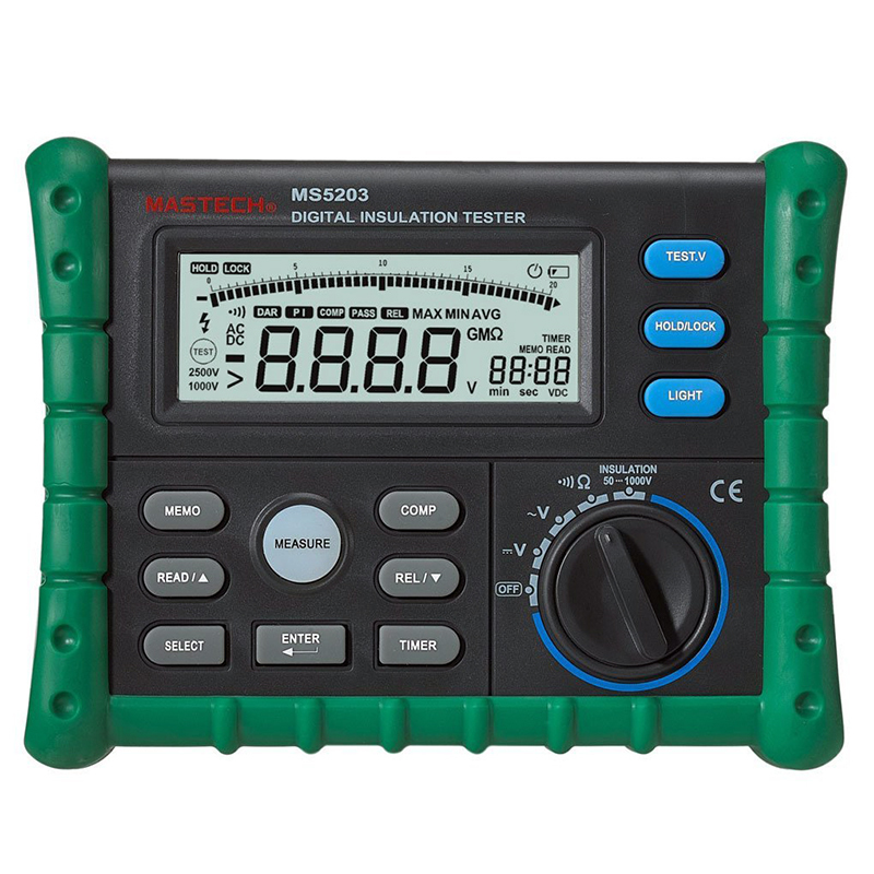 MASTECH MS5203 Digital Insulation Resistance Tester Multimeter Megger 0.01 Mohm to 10.00 HV meter 50V-1000V output 2017 mastech ms5202 digital analogue dual display pointer megger megometro insulation resistance tester max to 2500v 100000 mohm