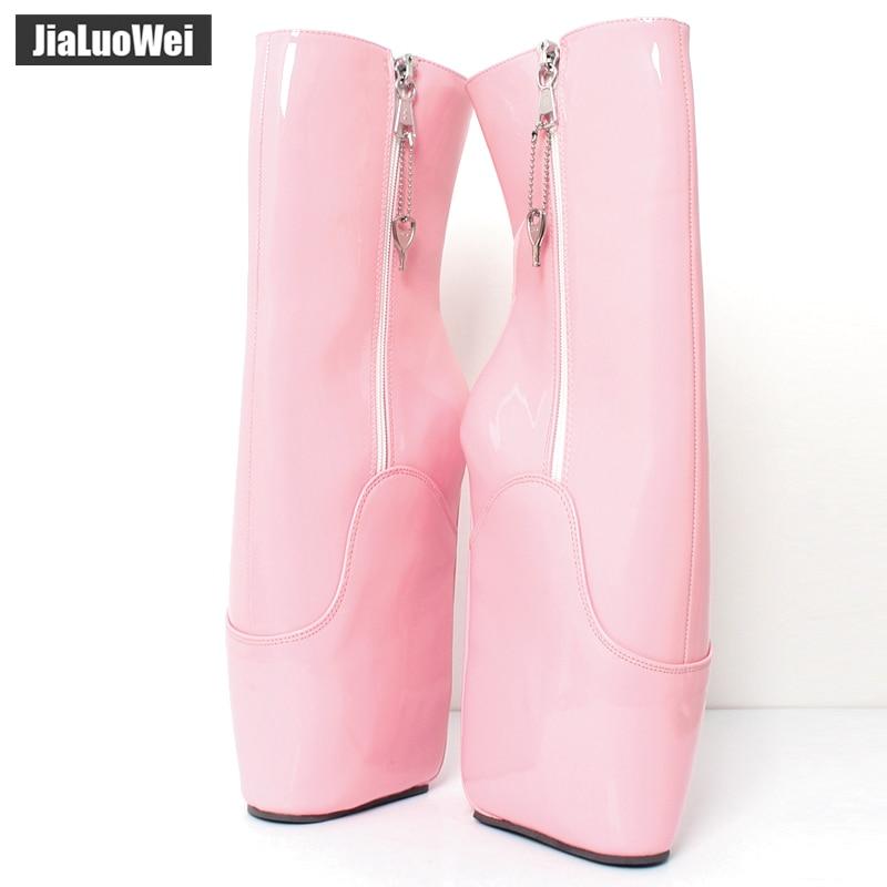 Jialuowei Wedge Color Fétiche Bottes Pin Femmes Ykk Caoutchouc Pouces up pink En custom Haute Sans Bottines Rtbu 7 Zip Sexy Black Shiny Shiny 18 Talon Ballet Cm IDEWH29