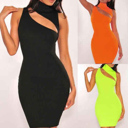 Vendita Calda alla moda Semplice Donna Solid Slim Aderente Senza Maniche a vita Alta Hollow-out Vestito Da Partito di Estate Club Breve mini Vestito S-L