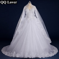 Romantic 2015 Long Sleeve Wedding Dress Ball Gown Sweetheart Beads Appliques Robe De Mariage Sexy Back