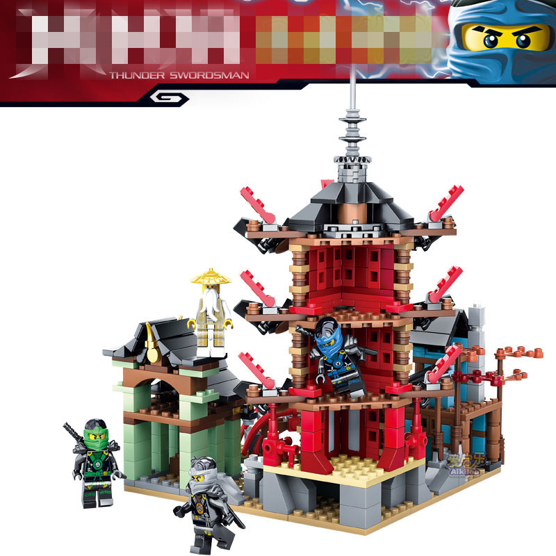 Ninja Temple of Airjitzu Ninjagoes Smaller Version Bozhi 737 pcs Blocks Set Compatible with Legoe Toys for Kids Building Bricks lepin 06038 compatible legoe ninjagoes minifigures ultra stealth raider 70595 building bricks ninja figure toys for children