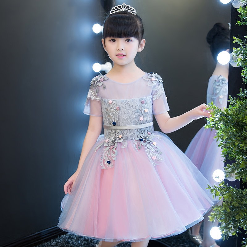 где купить  2017 New Sweet Baby Girls Ball Gown Dresses Bridesmaid Formal Clothing Cute Christmas Party Kids Birthday Wedding Dancing Dress  по лучшей цене