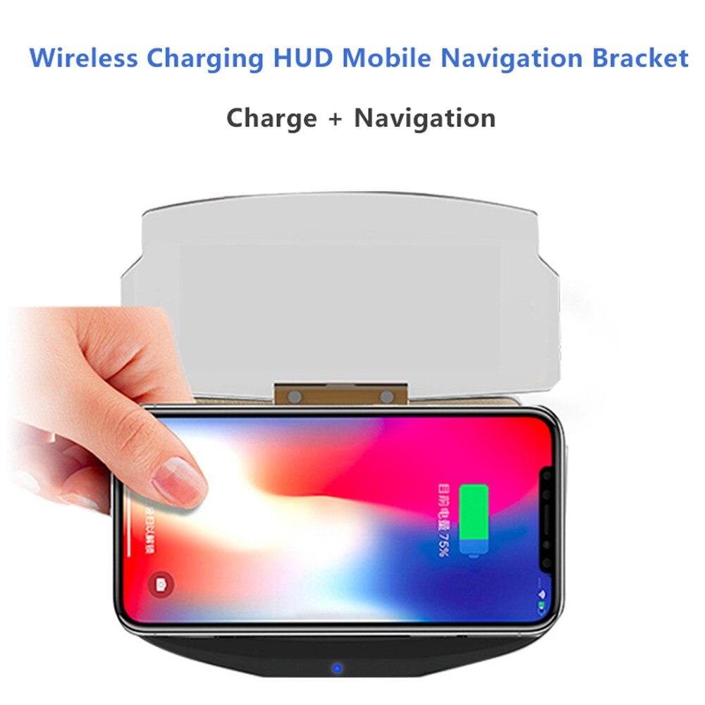 Qi Sans Fil Chargeur Pad Pour iPhone 8 X Samsung Note 8 Universel De Voiture Lentille Optique HUD Navigation Stand Combo Téléphone titulaire