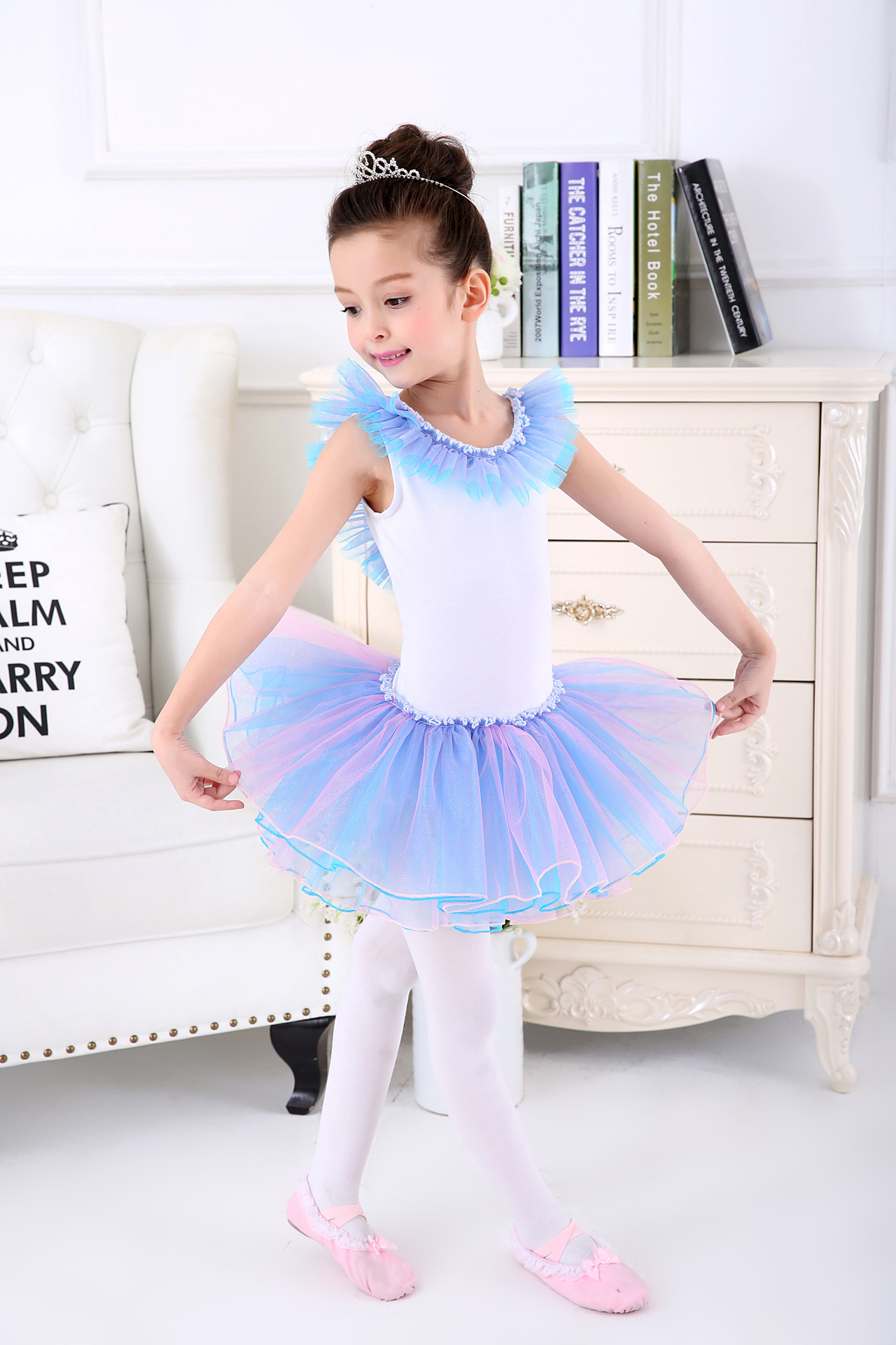 7e6122177 Fairy Princess Dance Costume Ballet Dress Skating Child Sleeveless ...
