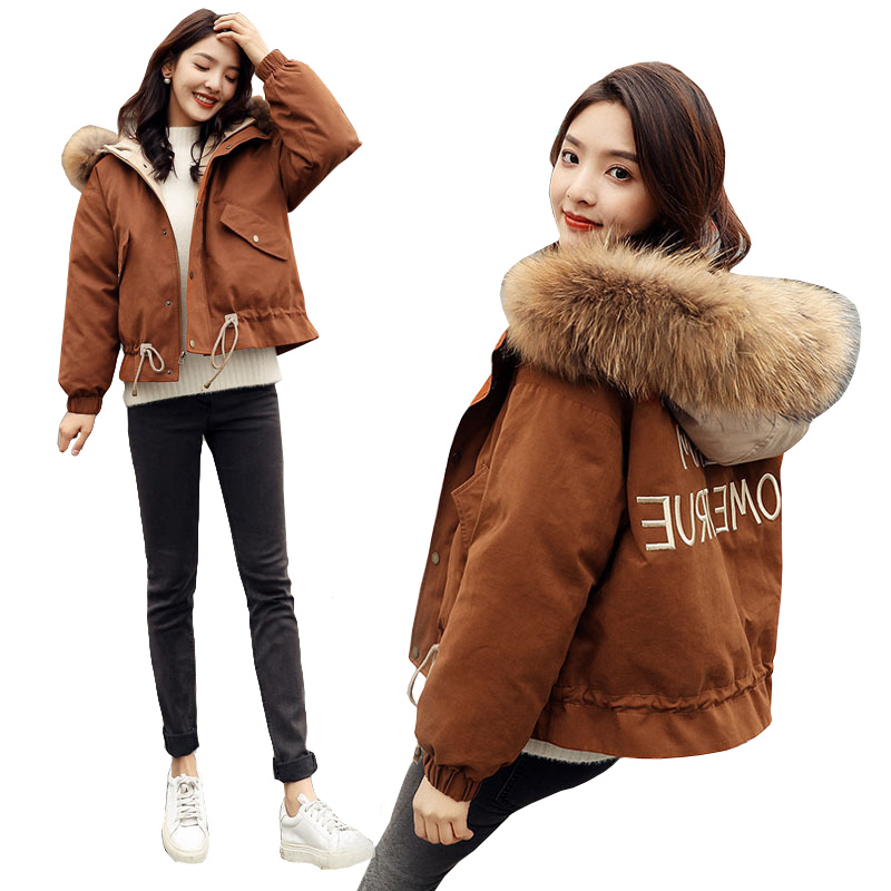 Winter Jacket Women 2019 Big Fur Collar Hooded   Parkas   Thick Warm Winter Coat Cotton Padded Down Jacket Slim Short Female Jacket