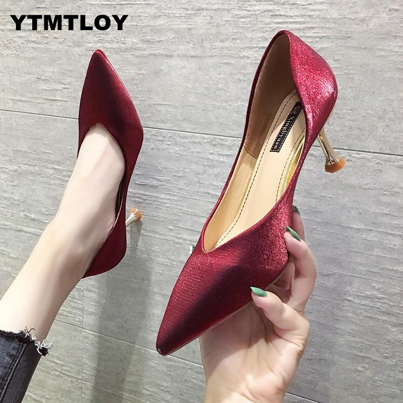 Women Wedding Shoes Side Metal Sex High Heels Pumps Black Dress Woman Boat Office Ladies Zapatos Mujer  Luxury  Green