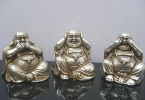 Rare Interesting Tibet Silver Carved 3 Happy Laughing Buddha Art Small Statue