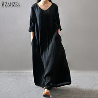 Women Elegant Dress 2016 ZANZEA Autumn V Neck Long Sleeve Floor Length Casual Loose Solid Maxi