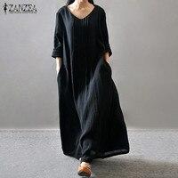 Women Elegant Dress 2016 ZANZEA Autumn V Neck Long Sleeve Floor Length Casual Loose Solid Maxi