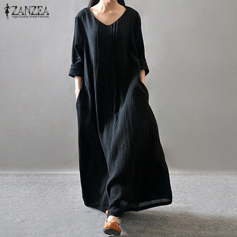 Mujeres elegante dress 2017 zanzea otoño v cuello piso-longitud de manga larga c
