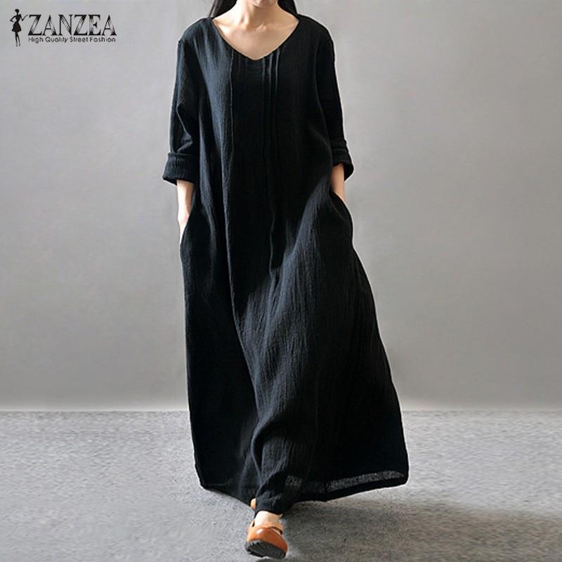 Femmes Élégante Robe 2018 ZANZEA Automne Col En V À Manches Longues Etage-longueur Casual Lâche Solide Maxi Longue Robe Robe Plus la taille