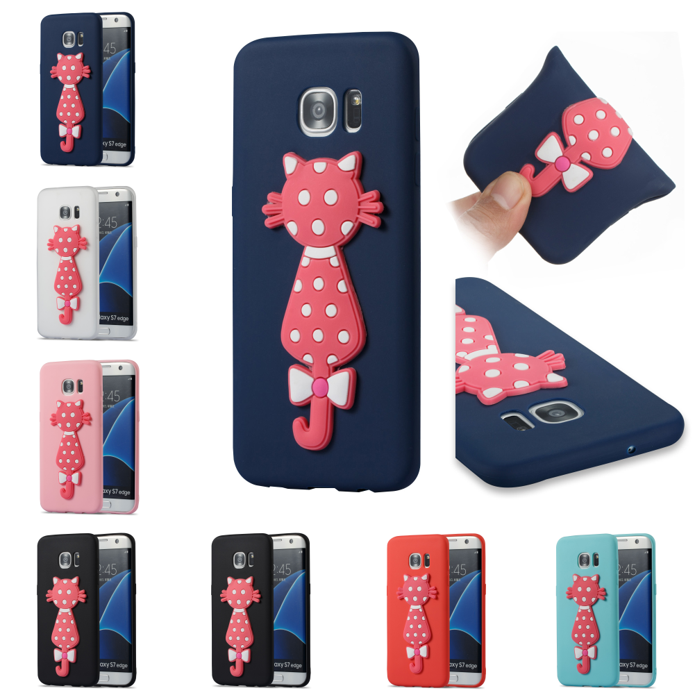 For Sumsung Samsug Samsung Galaxy Galax S7 Edge SM G935F Cute Cartoon TPU 3D Cat Silicone Cover Bag Phone Case Kryty Shell