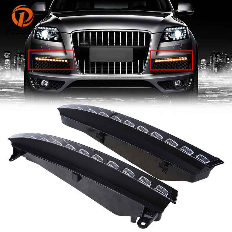POSSBAY Waterproof 12V Car Fog Lights LED Daytime Running Light DRL Fit for Audi Q7 2005/2006/2007/2008/2009/2010 Pre-facelift car flashing 2pcs drl for bmw x5 e70 2007 2008 2009 2010 daytime running lights daylight car led fog head lamp light cover
