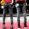 Wholesale 2016 New Teenagers Snow Grey Slim Fit letter Printed Strech Hip Hop Jeans Men Show Thin Pencil Pants 28-34 bottoms Man