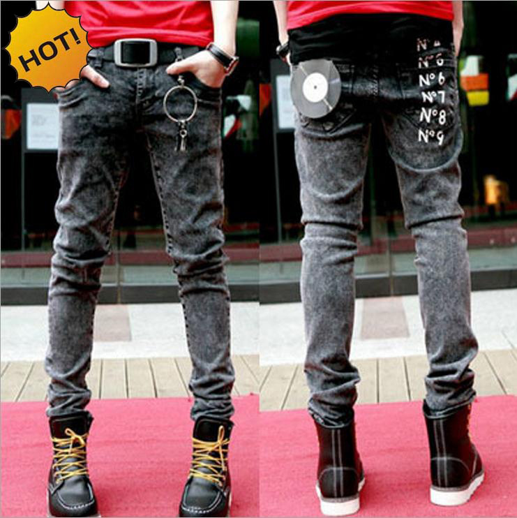 Wholesale 2017 New Teenagers Snow Grey Slim Fit letter Printed Strech Hip Hop Jeans Men Show Thin Pencil Pants 28-34 bottoms Man