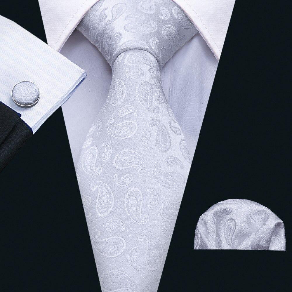 New Arrivel 100% Hand Made Jacquard Woven Silk Mens Ties Neck Tie White Paisley Ties Men Suit Wedding Gravatas Ties FA-5074