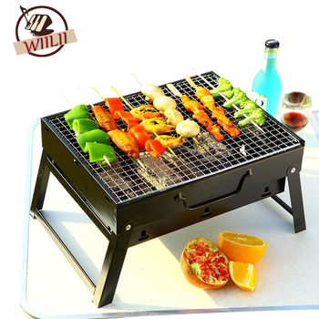 WIILII 1 Set Steel Outdoor Folding Barbecue Rack Wire Meshes Portable Household Charcoal Grills For Camping Campfire BBQ Tools