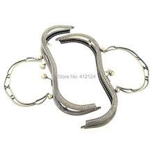 5Pcs Purse Bag Handbag Metal Arch Frame Kiss Clasp Lock Handle Ball Bronze Tone 20x16cm недорого