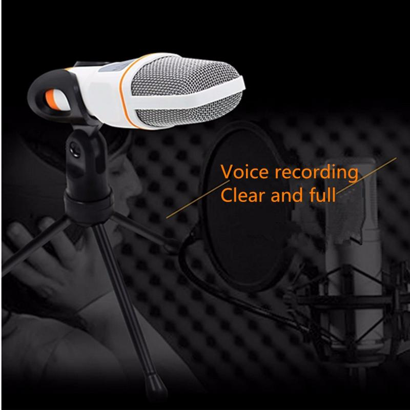 LEORY 3.5mm Desktop Condenser Microphones Mic With Stand Holder For PC Laptop Karaoke Sound Recording KTV Singing Meeting Speech