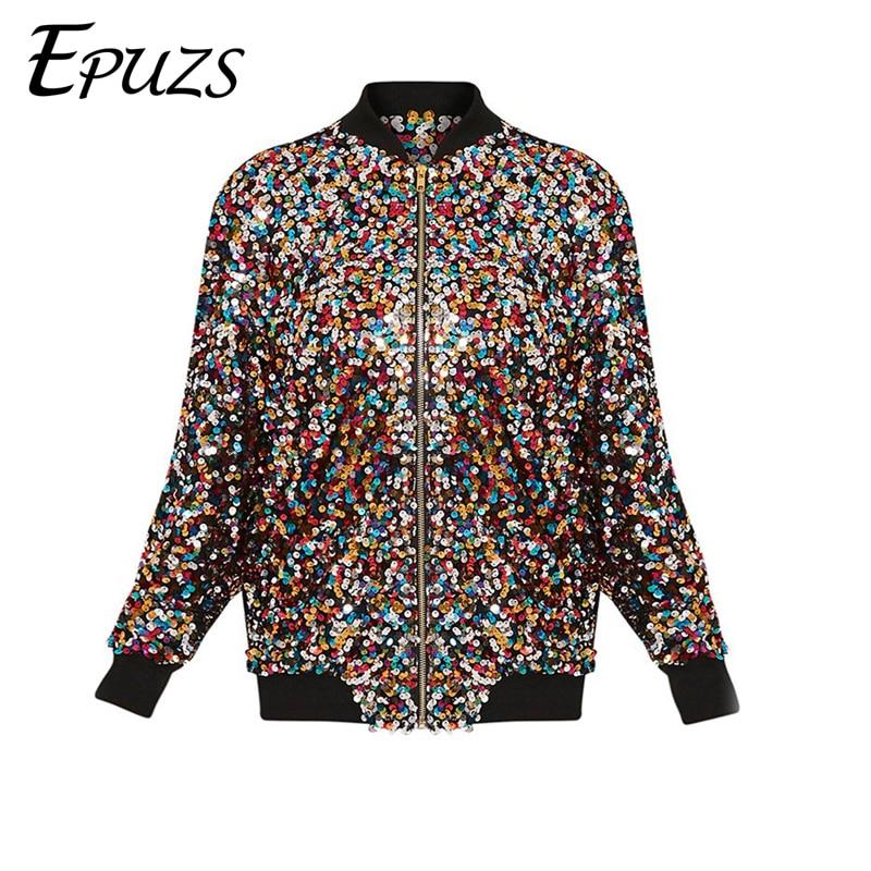 eb922f182 US $24.25 44% OFF|Spring sequin bomber jacket women basic coats winter long  Sleeve baseball jackets 2019 Shiny Show women jacket-in Basic Jackets from  ...