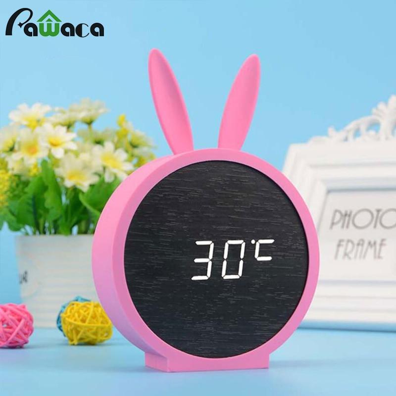 Cartoon LED Alarm Clocks Temperature Sounds Control LED Display ...
