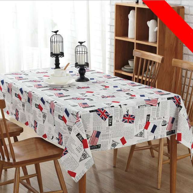 National Flag Cotton And Linen Pudding English Alphabet Printing  Rectangular Table Cloth Hot Family Gatherings Hot