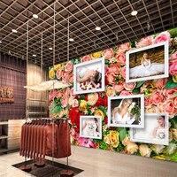 3D Dostosowany Zdjęcia Tapety Romantyczny Kolorowe Róże Ślub 3D Tapety na Tle Malowidła Ścienne Sklep Sklep Odzieżowy Mural
