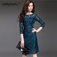 Lafhy Dofhy 2018 Большие размеры Женская мода Элегантная вышивка пряжи ткачество выдалбливают Кружева цветок три четверти рукав платье 224