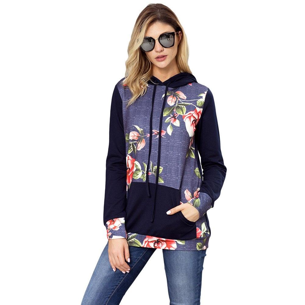 Autumn Winter Fashion Womens Hoodies Long Sleeve Sweatshirt Women Hooded Floral Print Pullover Kwaii Female Tops Plus Size