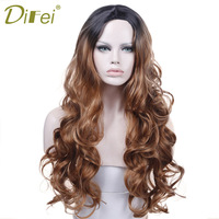 Omber Black Brown Wig Long Wavy Hair Costume Party Heat Resistant Synthetic Hair Cosplay Wig For