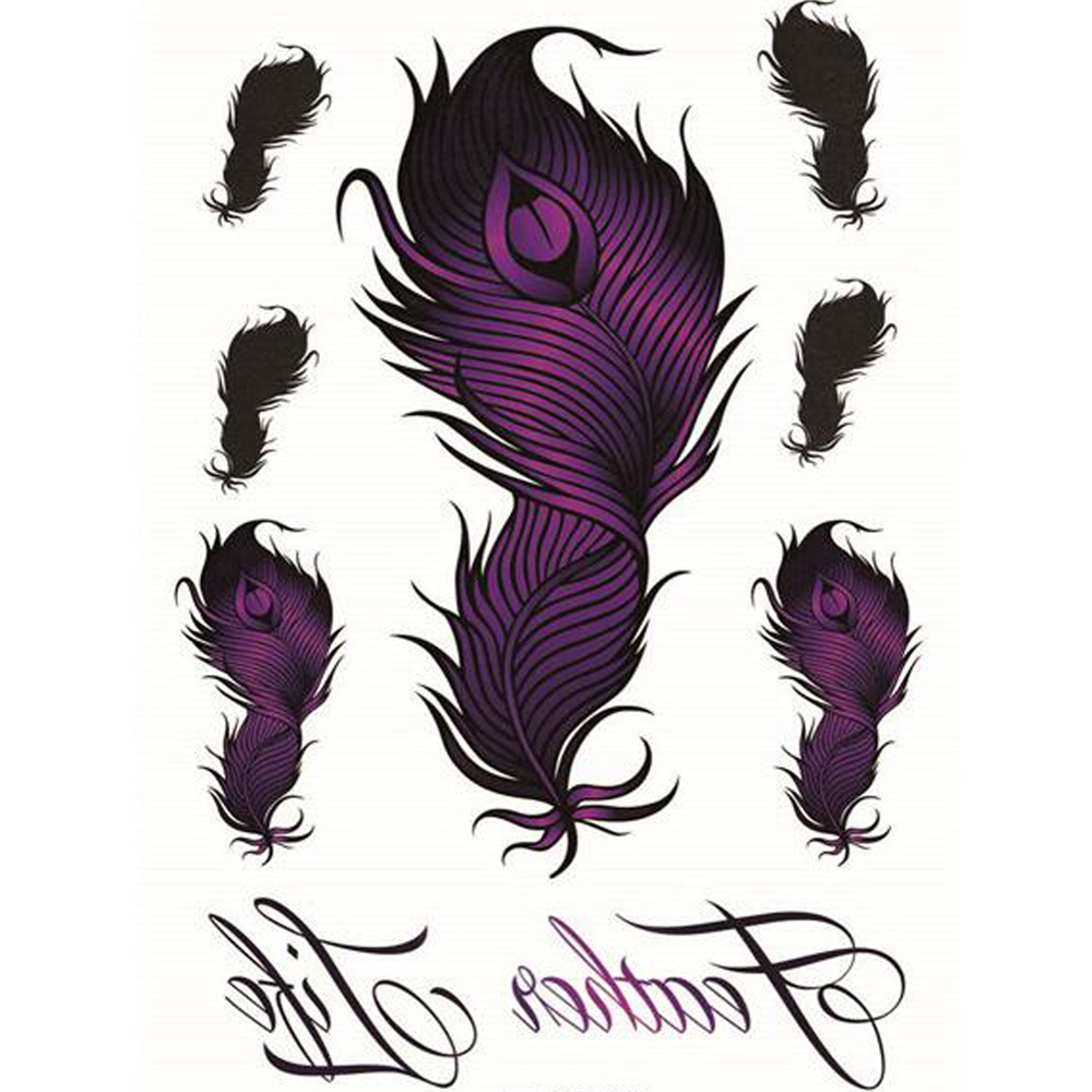Yeeech Temporary Tattoos Sticker for Women Fake Purple Feather Life Designs Sexy Arm Leg Long Lasting Body Art Waterproof Decals