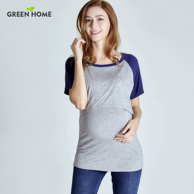 9d0a7575fee Green Home Summer Maternity Nursing Tops Contrast Color Tees High Quality  Pregnancy Clothes For Pregnant Women
