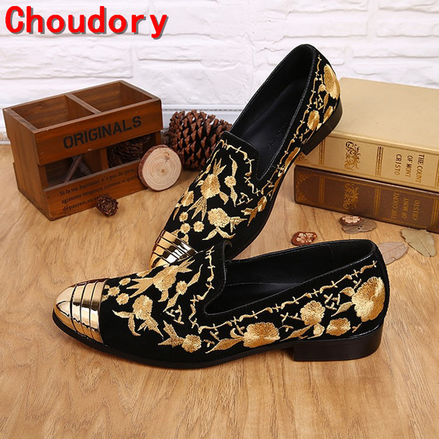 2017 Italian luxury Brands Floral Embroidered Slip On metal toe gold dress  shoes men velvet slippers mens loafers flat size12 b6014e601f5f