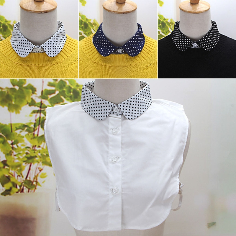 KLV Women Pure Color Wave Point Pattern Lapel Choker Necklace Shirt Fake False Collar