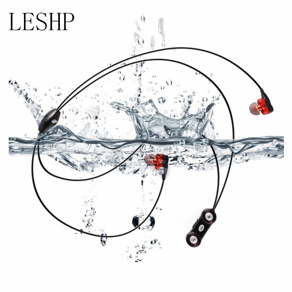 LESHP Bluetooth 4.0 Wireless Dual Speaker Necklace Waterproof Headset Stereo Sport with Mic Magnetic Buckle Design for Phone yopo® new mini wireless waterproof shower stereo bluetooth speaker w mic