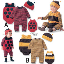2019 fashion baby cute autumn clothes bee ladybug jumpsuit pantyhose hooded suit