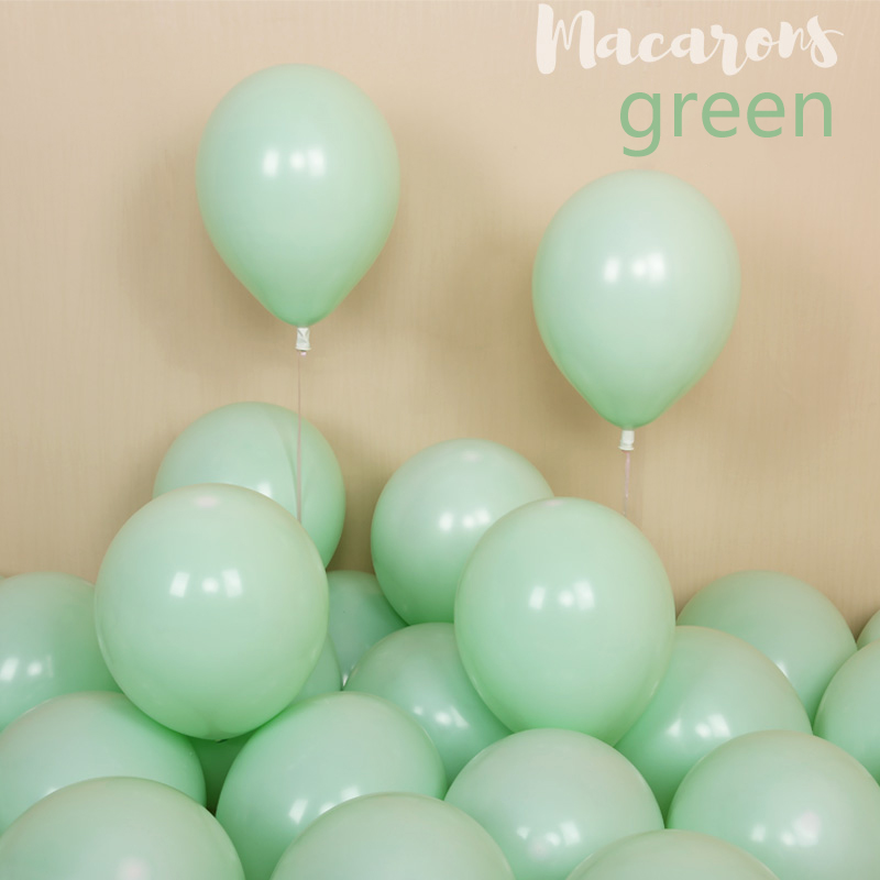 100pcs 10inch Latex Macaroon Balloon Baby Birthday Wedding Balloons Valentine's Day Party Decoration Air Ball Arch baloons Decor-green