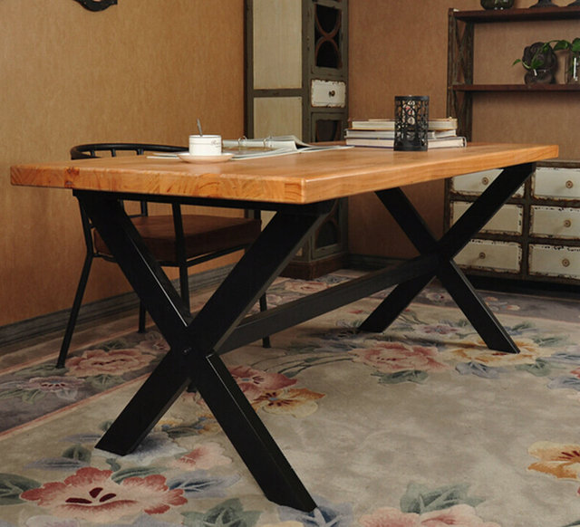 Dining Table Desk American Loft Custom Vintage Rustic Wood To Do The Old Wrought Iron