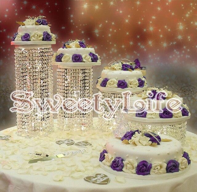 Charming 4pcs/set Crystal Wedding Cake Stand  Wedding Centerpiece  Wedding Cake  Display
