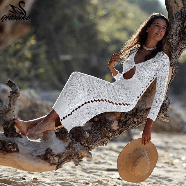 4b4155ab5d 2019 Long Crochet Knitted Beach Cover ups Pareo de Plage Swimsuit cover Up  Beach wear Pareos de Playa Mujer Bikini Cover up